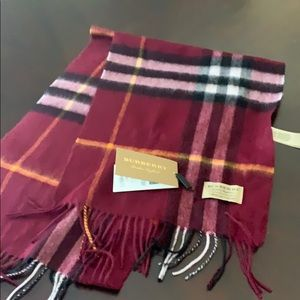 Burberry check cashmere fringe scarf maroon nwt